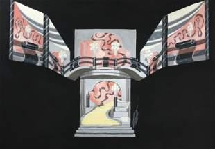Erte - Untitled Original Gouache (Pink Stage Set)