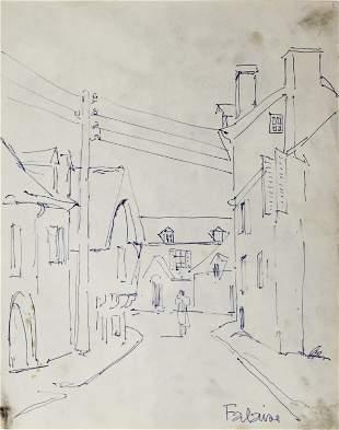 Fernand Leger - Original Drawing: Street Scene, Falaise