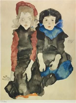 Egon Schiele (After) - Two Little Girls