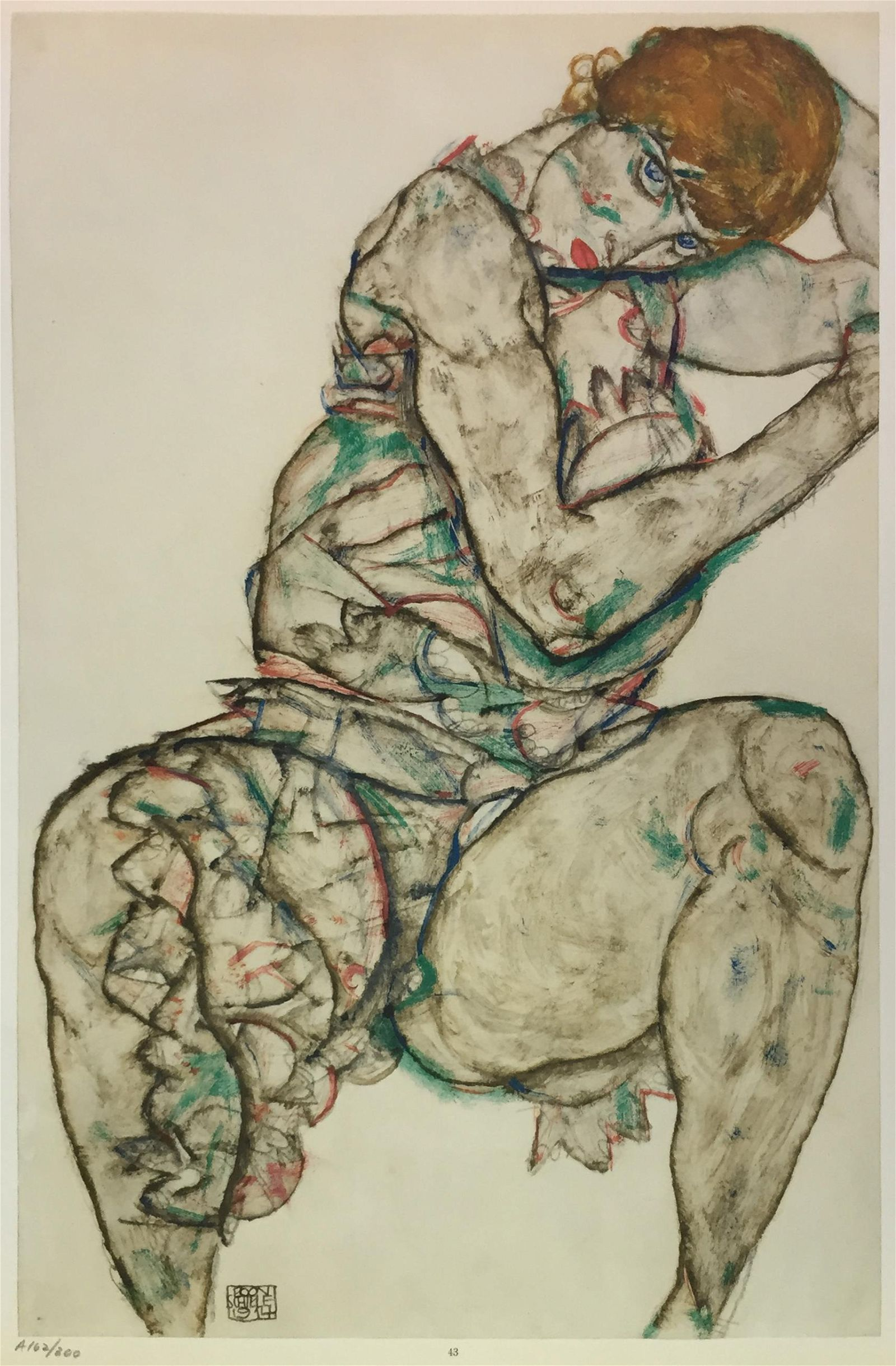 Egon Schiele (After) - Seated Woman with Hand in Hair