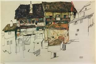 Egon Schiele (After) - Old Houses in Krumau