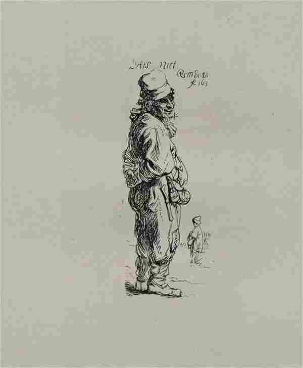 Rembrandt van Rijn (after) - A Peasant Calling Out