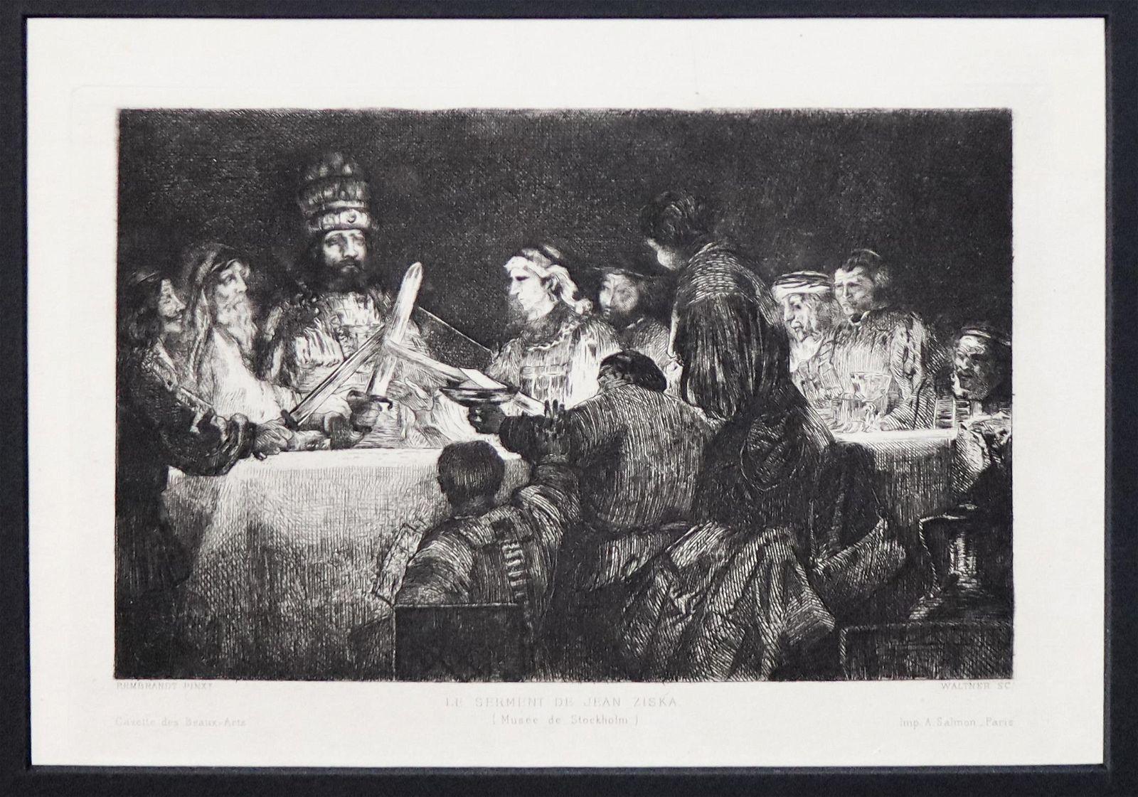 Rembrandt van Rijn (After) - Le Serment De Jean Ziska