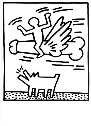 Keith Haring - Flying Cock (from Lucio Amelio Suite)