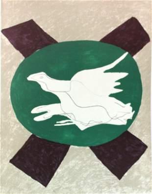 """Georges Braque - Oiuseau sur fond de """"X"""""""