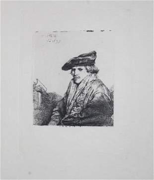 Rembrandt van Rijn (after) - Young man in a velvet cap