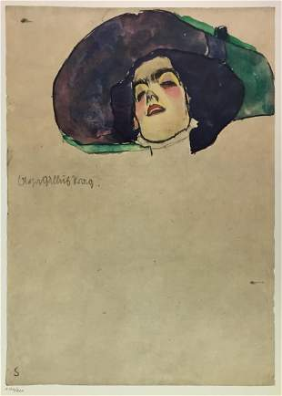 Egon Schiele (After) - Woman's Head with Wide-Brimmed
