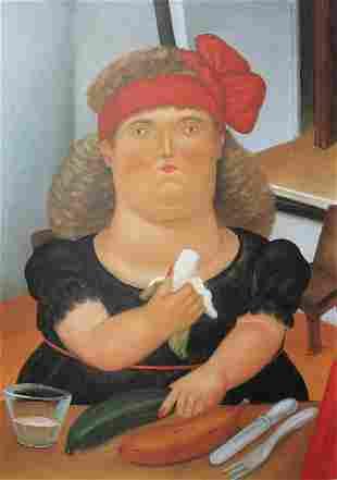 Fernando Botero (after) - Colombian Eating Bananas
