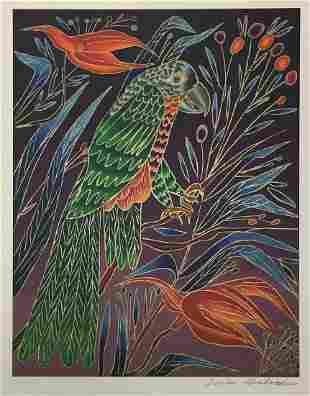 Yuri Gorbachev - Green Parrot on Red Flower
