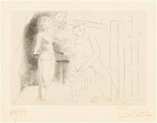 Pablo Picasso - Peintre Avec Deux Modeles Regardant une