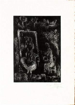 Marc Chagall - La Nuit Il Vole un Ange Dans le Ciel