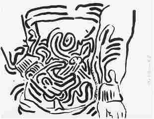 """Keith Haring - Plate 2 from """"Bad Boys"""""""