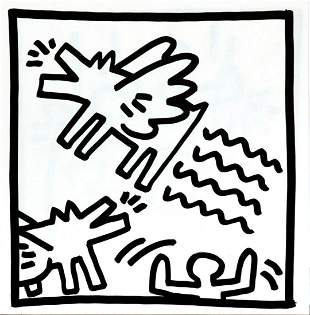 Keith Haring - Untitled (Flying Dogs)