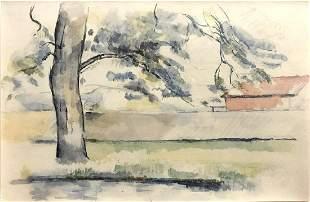 Paul Cezanne (After) - Arbre et Maison