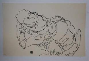 Egon Schiele (After) - Edith Schile mit Hund Lord (Egon