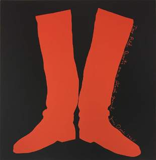 Jim Dine - Two Red Boots on a Black Ground