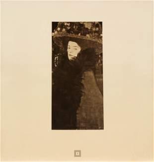 Gustav Klimt (After) - Dame mit Blumenhut