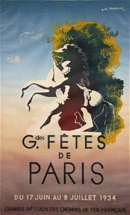Cassandre - Grandes Fetes de Paris (Vintage Poster)