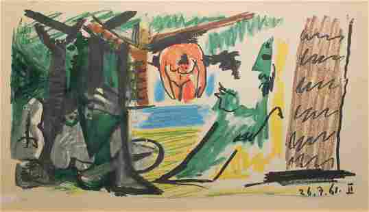 """Pablo Picasso - Untitled from """"Les Dejeuners"""" (26.7.61"""