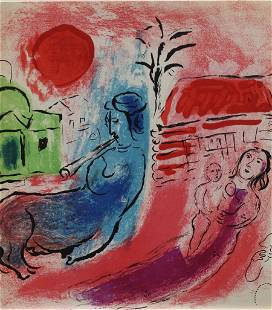 Marc Chagall - Maternite au Centaur (Red Background)