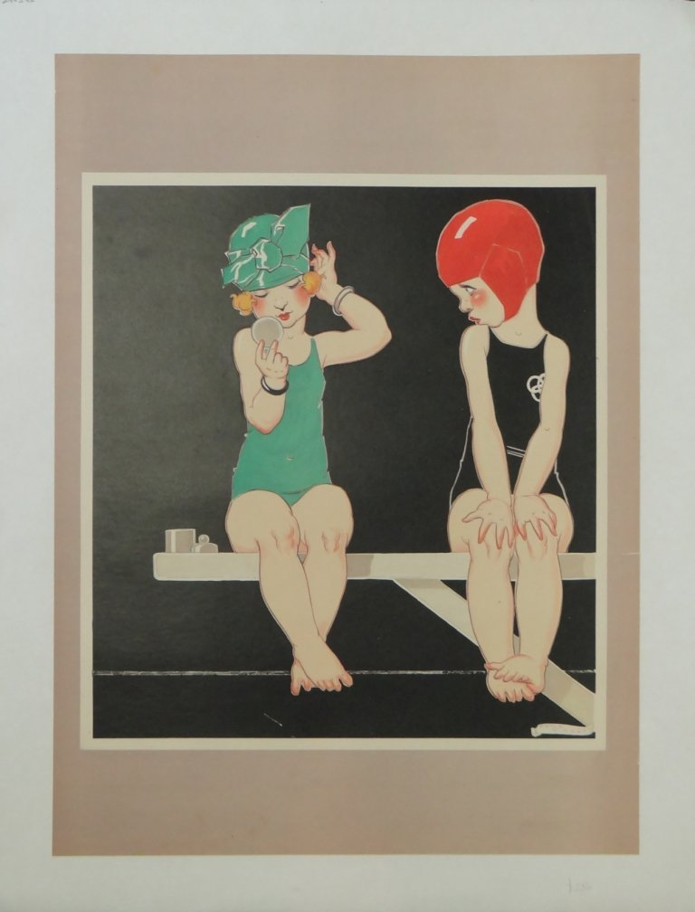 """3: """"Swimmers"""" Vintage Poster"""