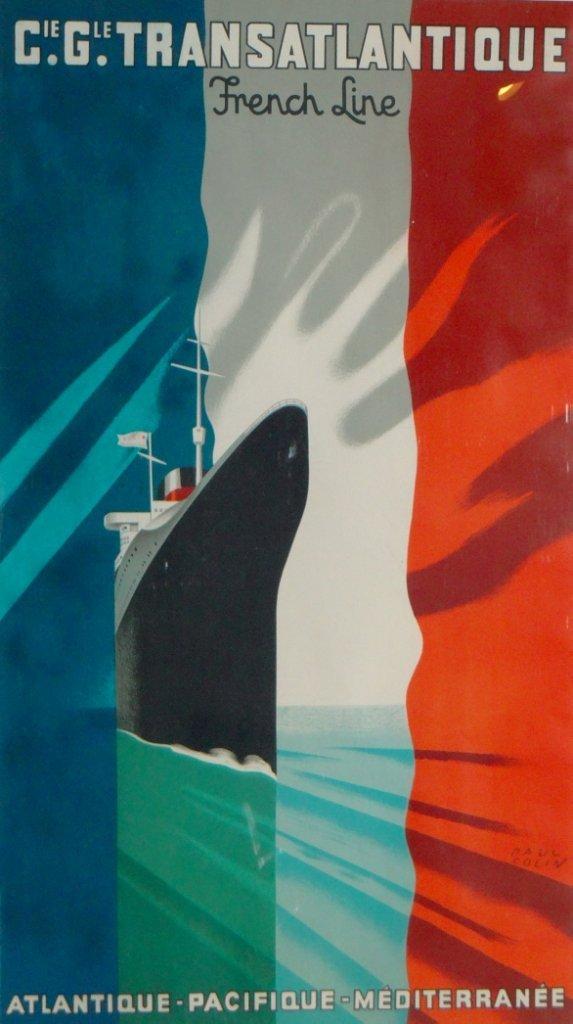 """11: Paul Colin - """"Cie. Gle. Transatlantique"""" Vintage Po"""