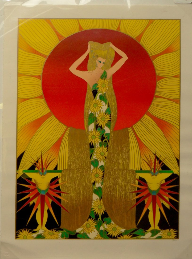 "Jean Francois Ibos ""Sunflower Lady"" lithograph"