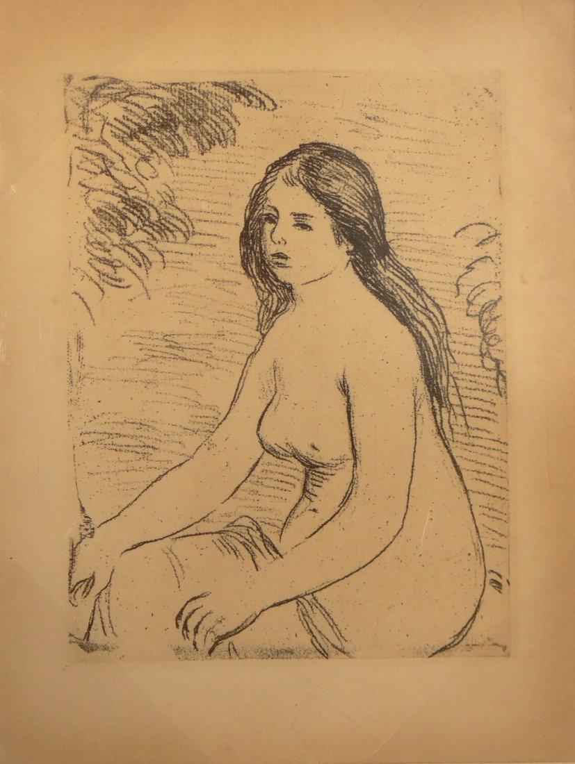 "Pierre-Auguste Renoir ""Femme Nue Assise"" etching"
