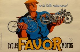 "Bellenger ""Cycles Favor Motos"" vintage poster"