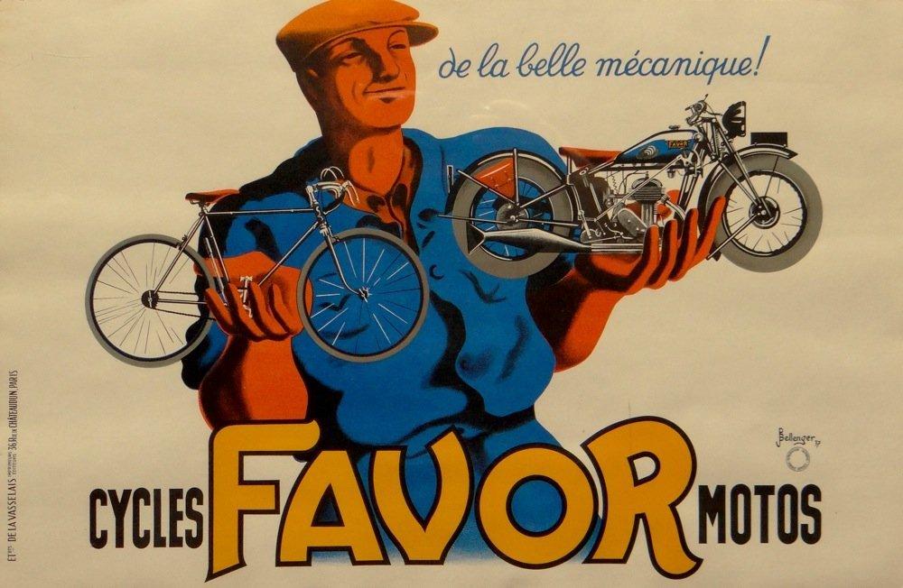"Bellenger ""Cycles Favor Motos"" vintage poster"