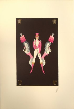 "Erte ""Letter W"" serigraph from Alphabet Suite"