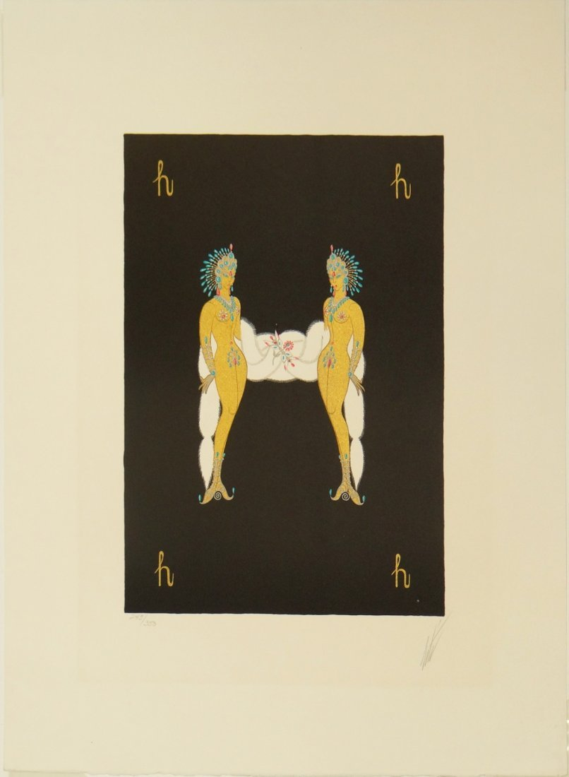"Erte ""Letter H"" serigraph from Alphabet Suite"