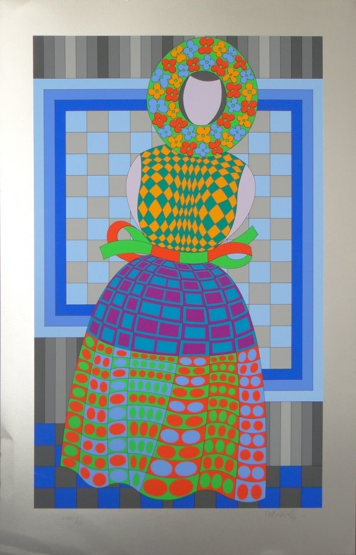 """Victor Vasarely """"Woman"""" on silver paper"""