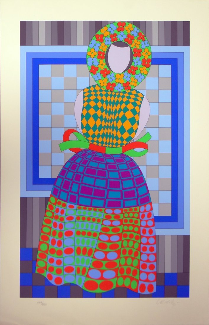 """Victor Vasarely """"Woman"""" on white paper"""
