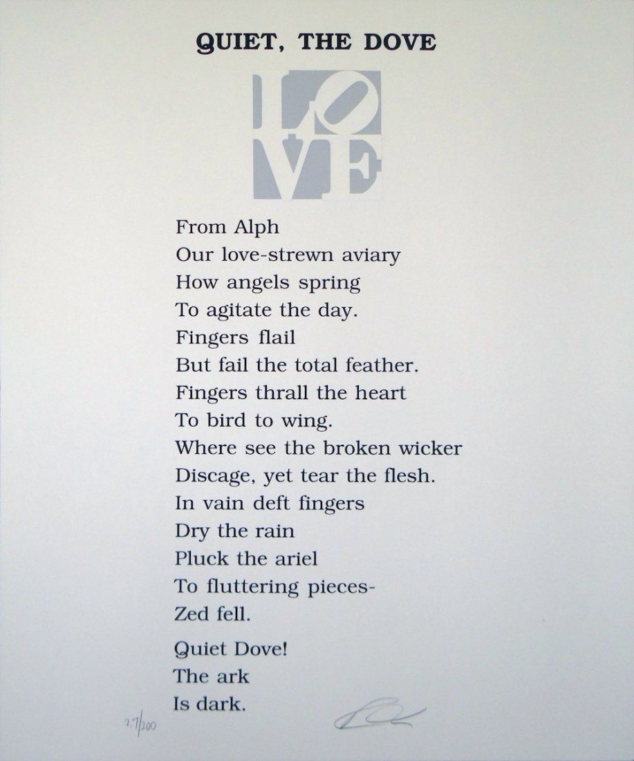 """Robert Indiana """"Quiet, The Dove"""" from Love Poems"""