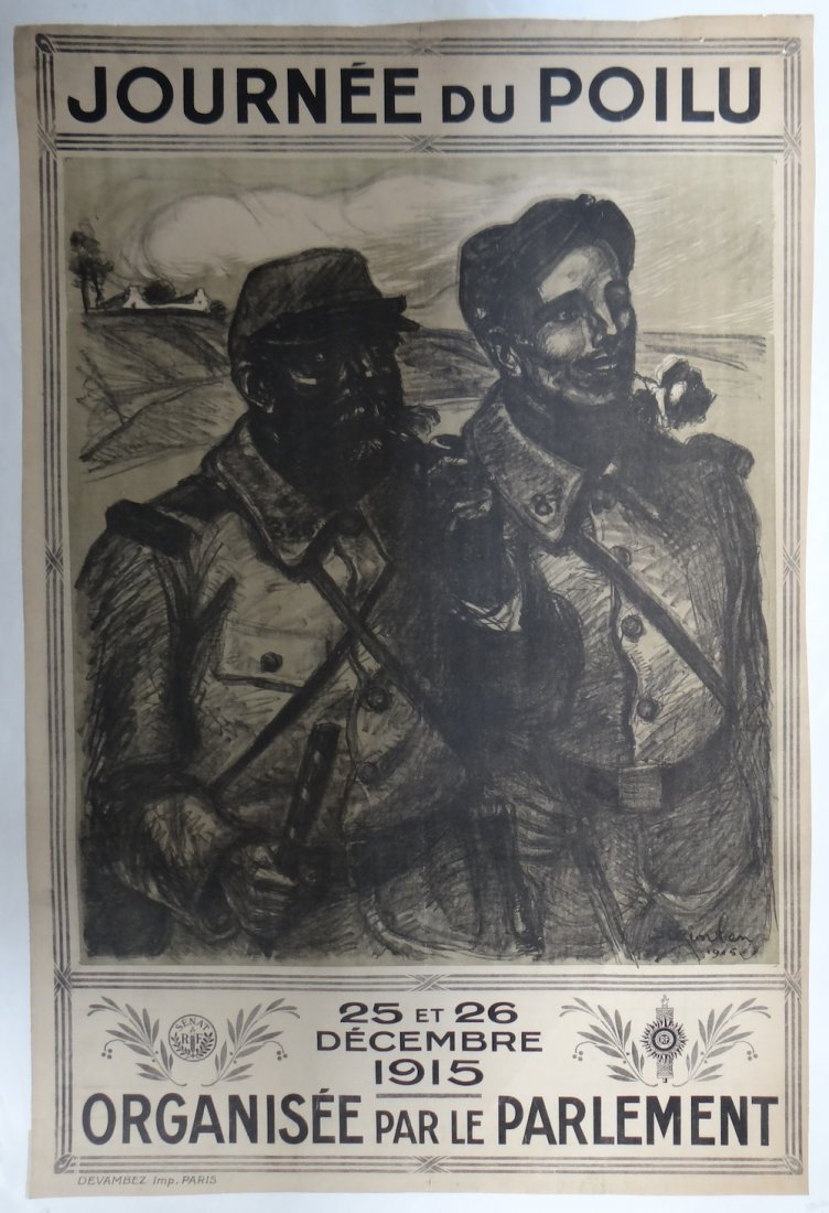 """Theophile Steinlen """"Journee du Poilu 1915"""" vintage post"""