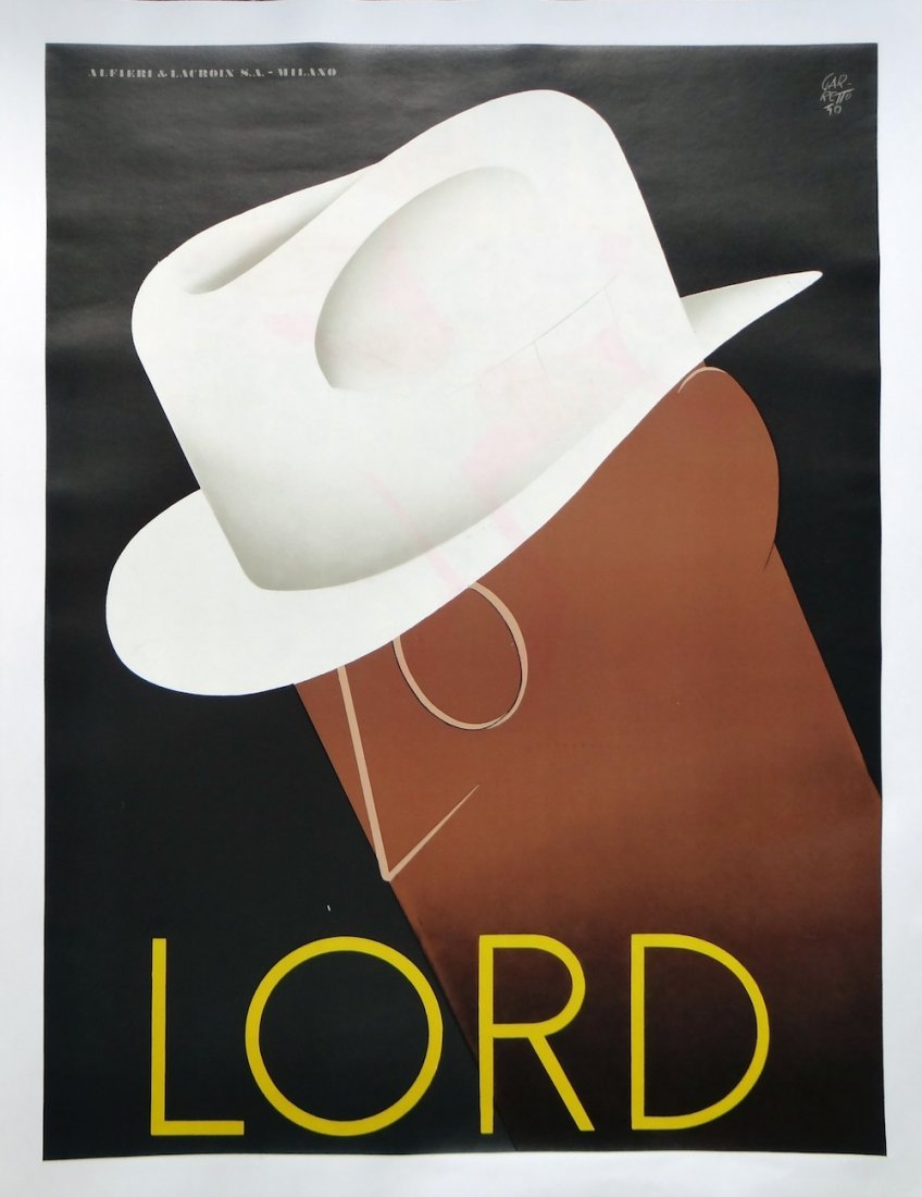 """Paolo Garretto """"Lord"""" Vintage poster 1950"""