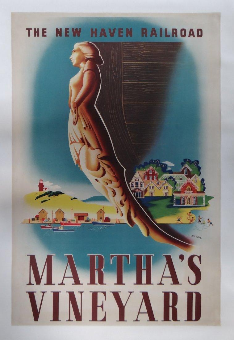 "Ben Nason ""Martha's Vineyard"" vintage poster c1945"
