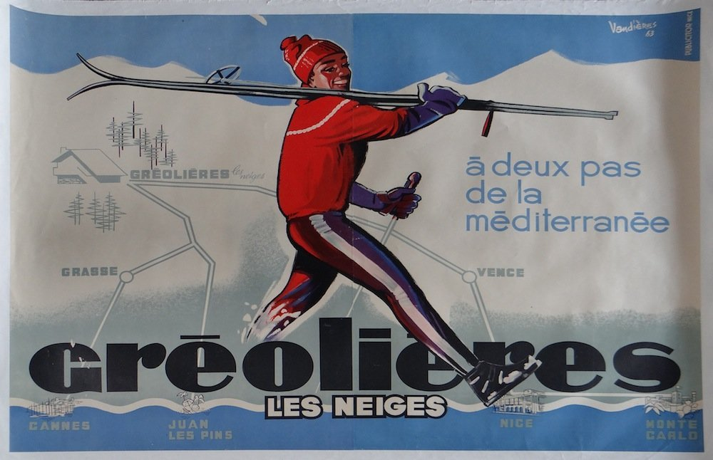"""Vandieres """"Greolieres les Neiges"""" vintage poster 1963"""
