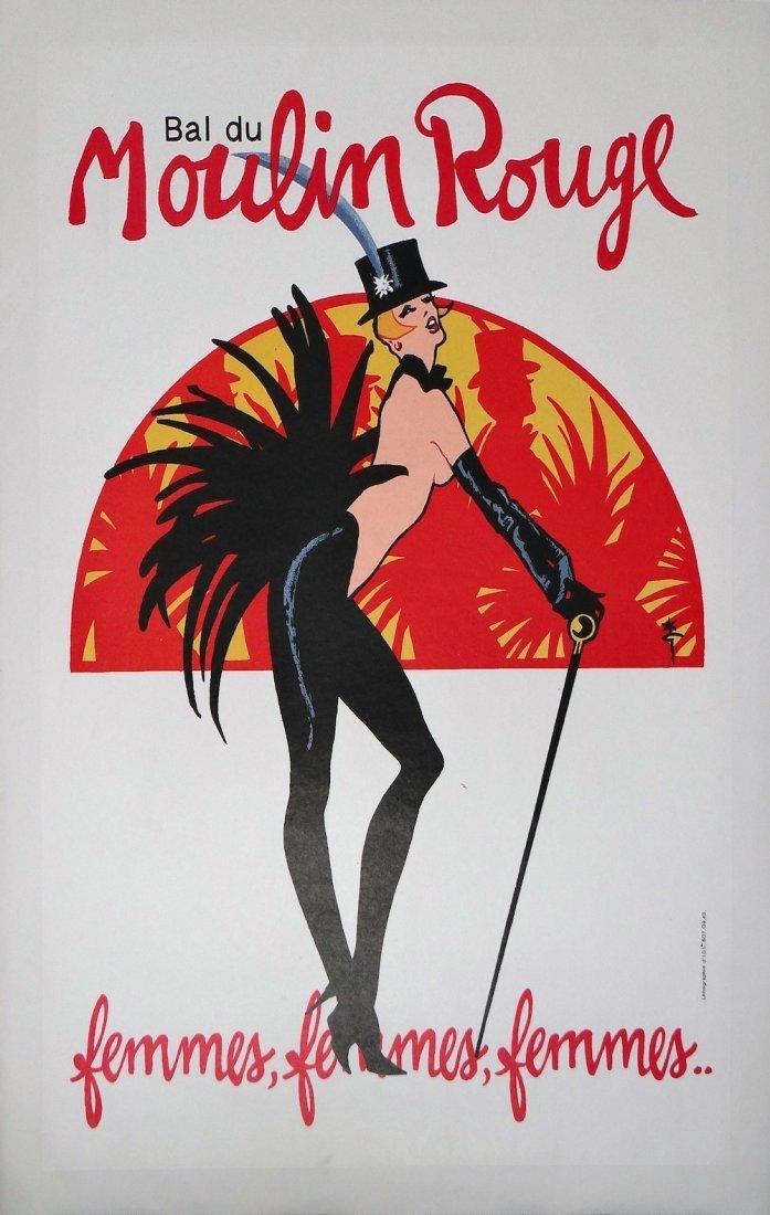 Rene Gruau Moulin Rouge vintage poster c1970