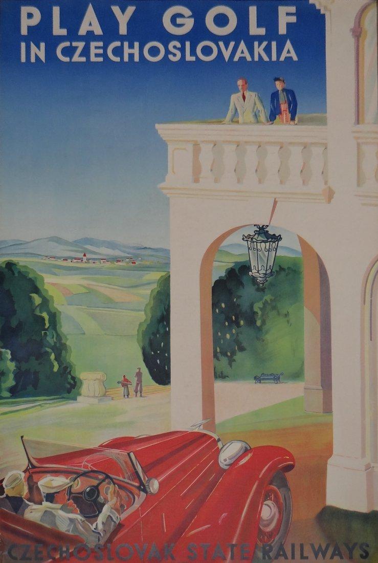 Zdenyk Rykr Play Golf in Czechoslovakia vintage poster