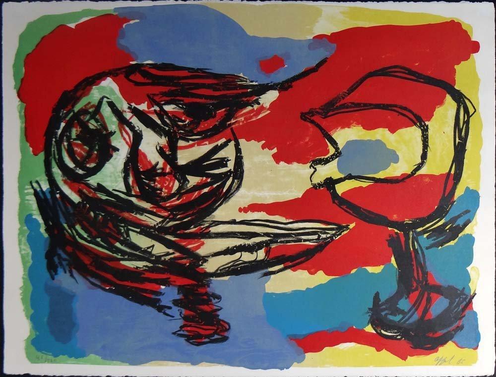 """Karel Appel """"Heads in a Colorful Landscape"""""""