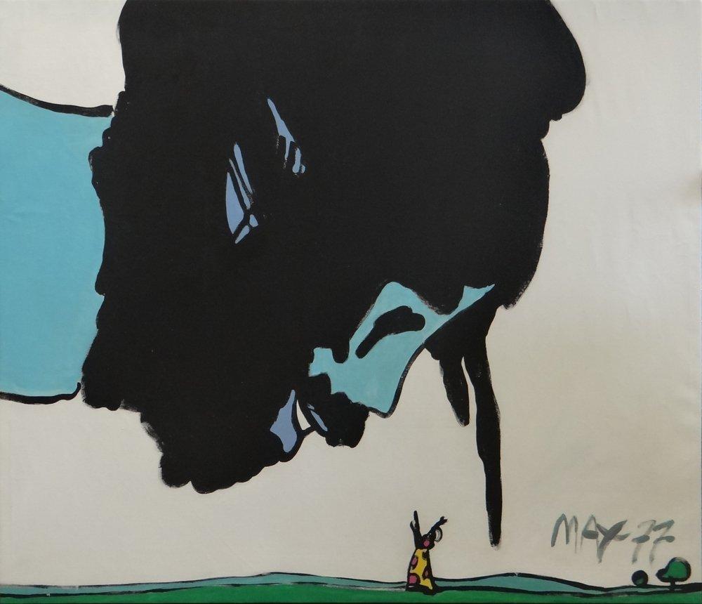 "Peter Max ""Great Genie"" original acrylic painting"