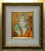 "Foussa Itaya ""Portrait of a Girl wth Fruit"""