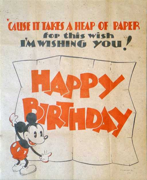 Collectable Vintage Mickey Mouse Birthday Card