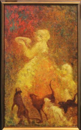 "Louis Icart ""a Bowl Of Milk"" Original Oil Painting"