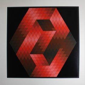 """Victor Vasarely """"gestalt (red Hexagon)"""""""