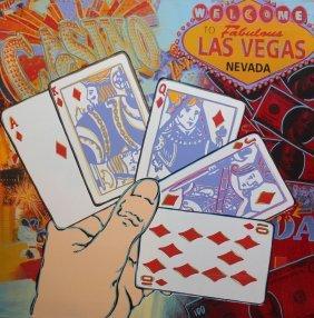 "Steve Kaufman ""welcome To Las Vegas"" Blue"