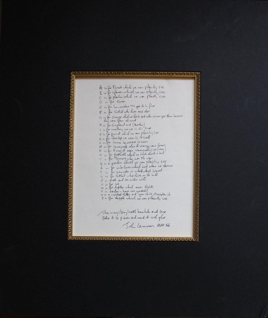 "John Lennon ""Poet's Page"""