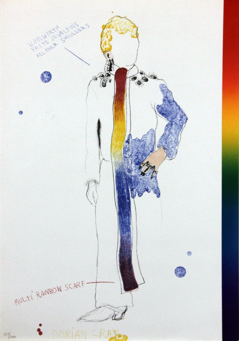 Dorian Gray with a Rainbow Scarf by Jim Dine